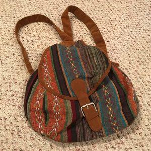 Striped print bohemian backpack bag